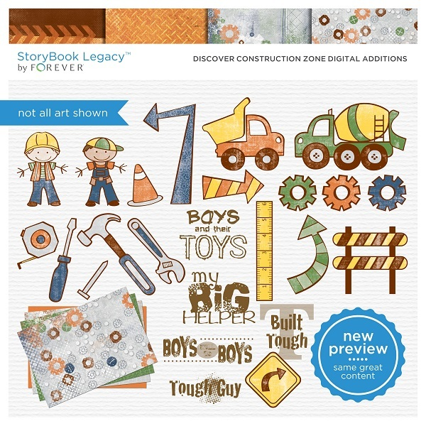 Discover Construction Zone Digital Additions Digital Art - Digital Scrapbooking Kits