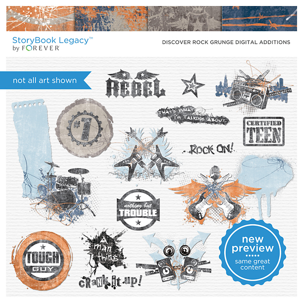 Discover Rock Grunge Digital Additions Digital Art - Digital Scrapbooking Kits