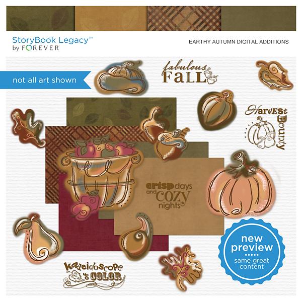 Earthy Autumn Digital Additions Digital Art - Digital Scrapbooking Kits
