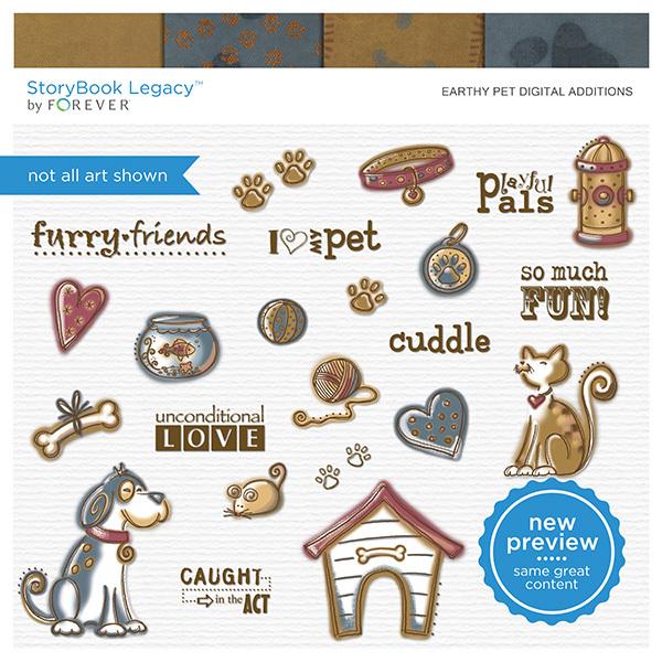 Earthy Pet Digital Additions Digital Art - Digital Scrapbooking Kits