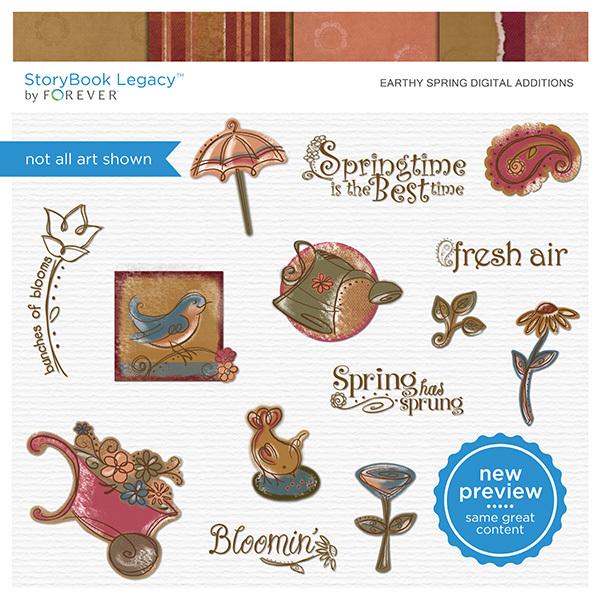 Earthy Spring Digital Additions Digital Art - Digital Scrapbooking Kits