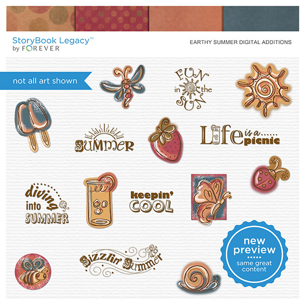 Earthy Summer Digital Additions Digital Art - Digital Scrapbooking Kits