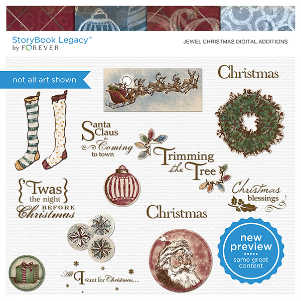 Jewel Christmas Digital Additions Digital Art - Digital Scrapbooking Kits