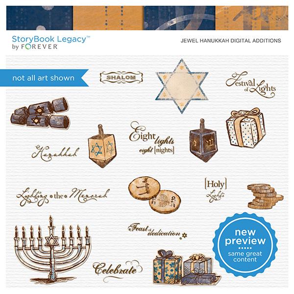 Jewel Hanukkah Digital Additions Digital Art - Digital Scrapbooking Kits