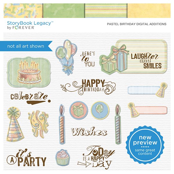 Pastel Birthday Digital Additions Digital Art - Digital Scrapbooking Kits