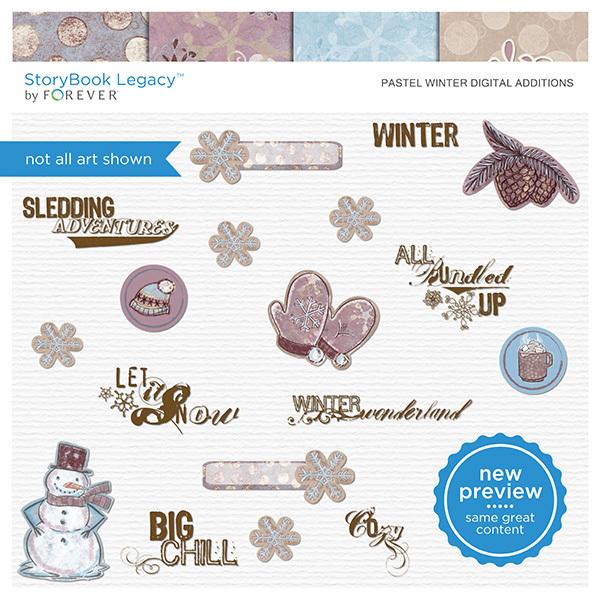 Pastel Winter Digital Additions Digital Art - Digital Scrapbooking Kits