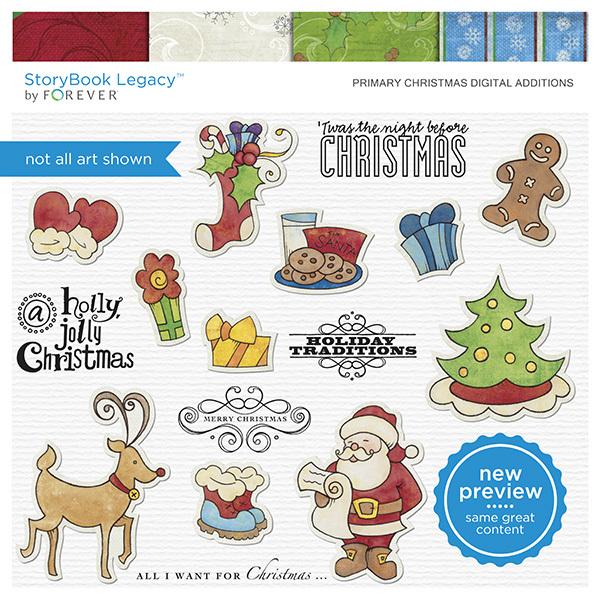 Primary Christmas Digital Additions Digital Art - Digital Scrapbooking Kits