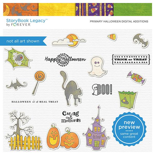 Primary Halloween Digital Additions Digital Art - Digital Scrapbooking Kits