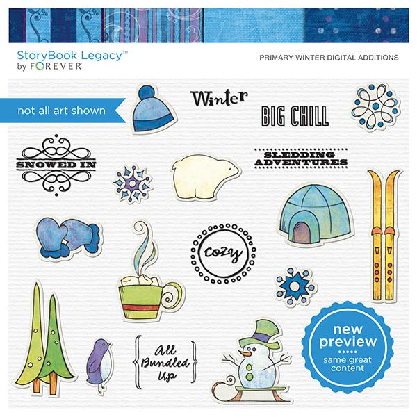 Primary Winter Digital Additions Digital Art - Digital Scrapbooking Kits