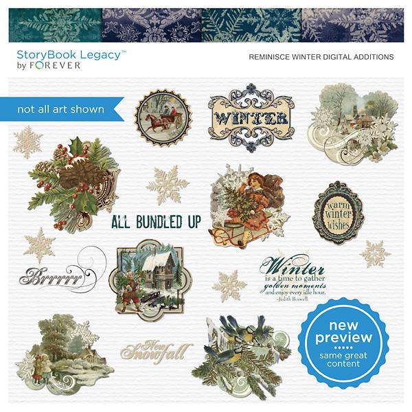 Reminisce Winter Digital Additions Digital Art - Digital Scrapbooking Kits