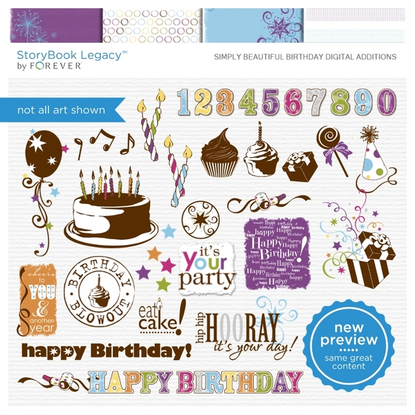 Simply Beautiful Birthday Digital Additions Digital Art - Digital Scrapbooking Kits