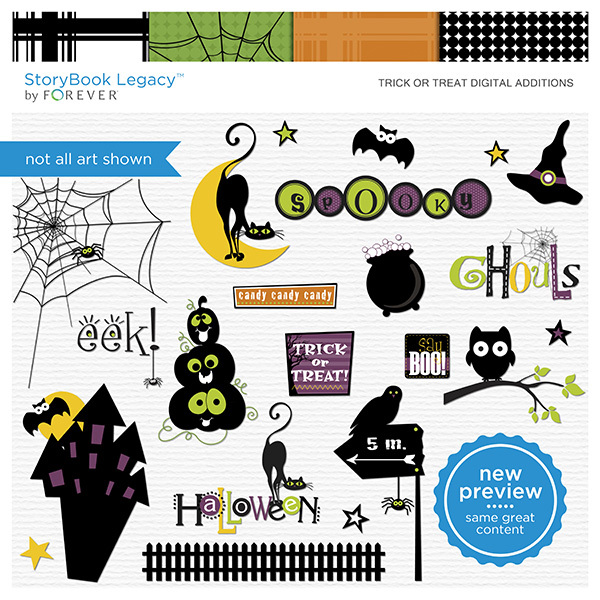 Trick Or Treat Digital Additions Digital Art - Digital Scrapbooking Kits
