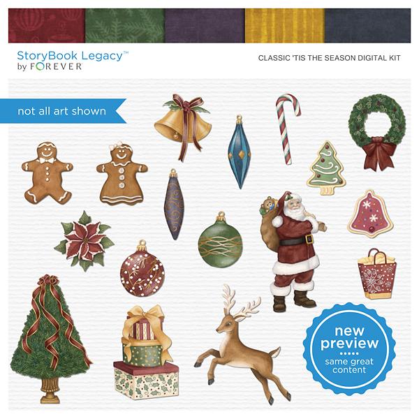 Classic Tis The Season Digital Kit Digital Art - Digital Scrapbooking Kits