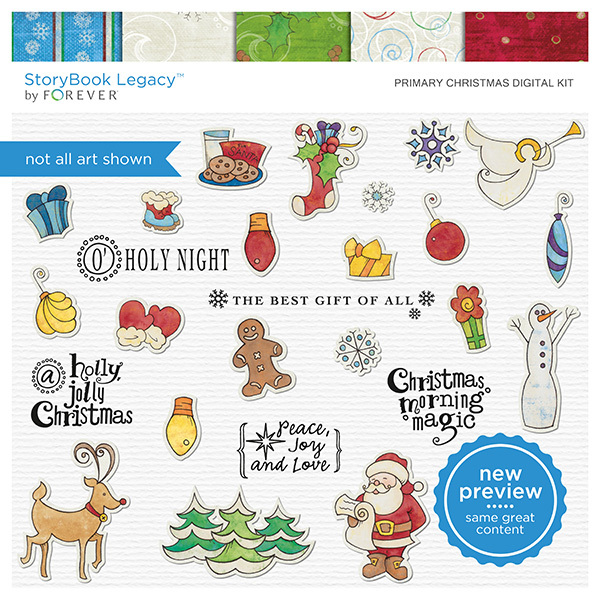 Primary Christmas Digital Kit Digital Art - Digital Scrapbooking Kits