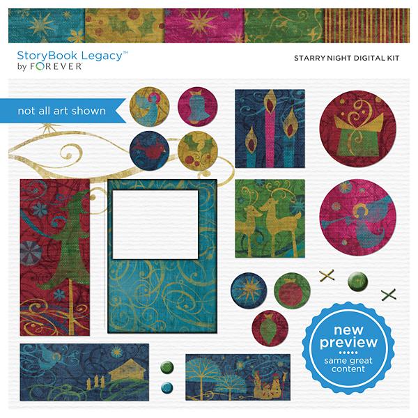 Starry Night Digital Kit Digital Art - Digital Scrapbooking Kits