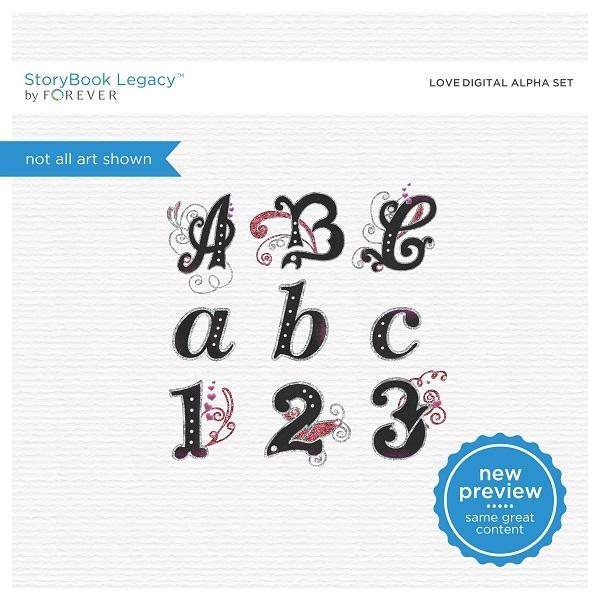 Love Digital Alpha Set Digital Art - Digital Scrapbooking Kits