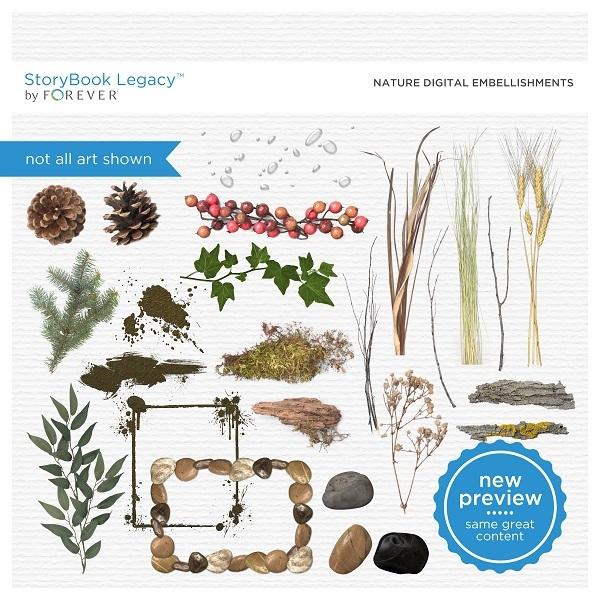 Nature Digital Embellishments Digital Art - Digital Scrapbooking Kits