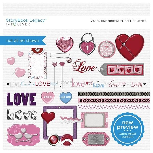 Valentine Digital Embellishments Digital Art - Digital Scrapbooking Kits