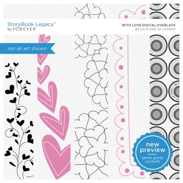 With Love Digital Overlays Digital Art - Digital Scrapbooking Kits