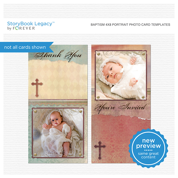 Baptism 4x8 Portrait Photo Card Templates