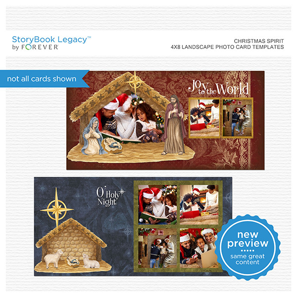 Christmas Spirit 4x8 Landscape Photo Card Templates Digital Art - Digital Scrapbooking Kits