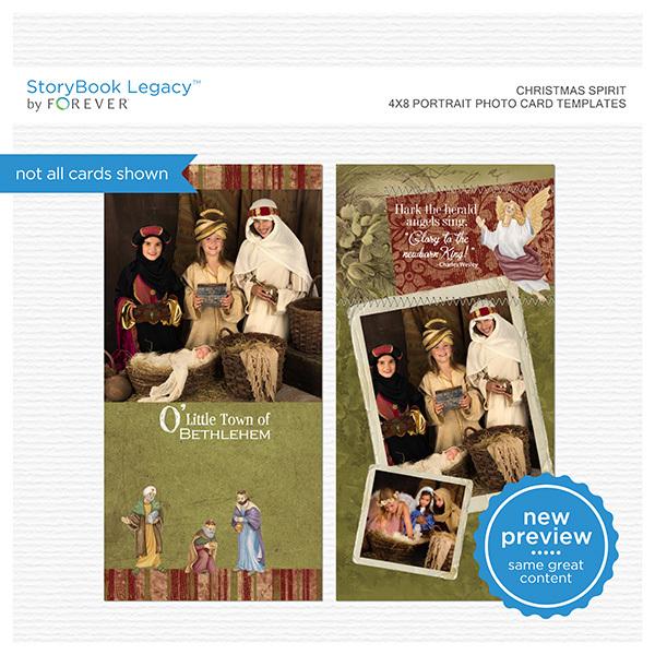 Christmas Spirit 4x8 Portrait Photo Card Templates Digital Art - Digital Scrapbooking Kits