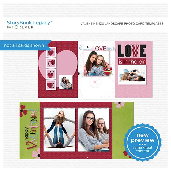 Valentine 4x8 Landscape Photo Card Templates Digital Art - Digital Scrapbooking Kits