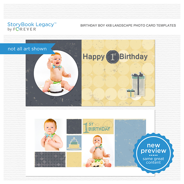 Birthday Boy 4x8 Landscape Photo Card Templates Digital Art - Digital Scrapbooking Kits