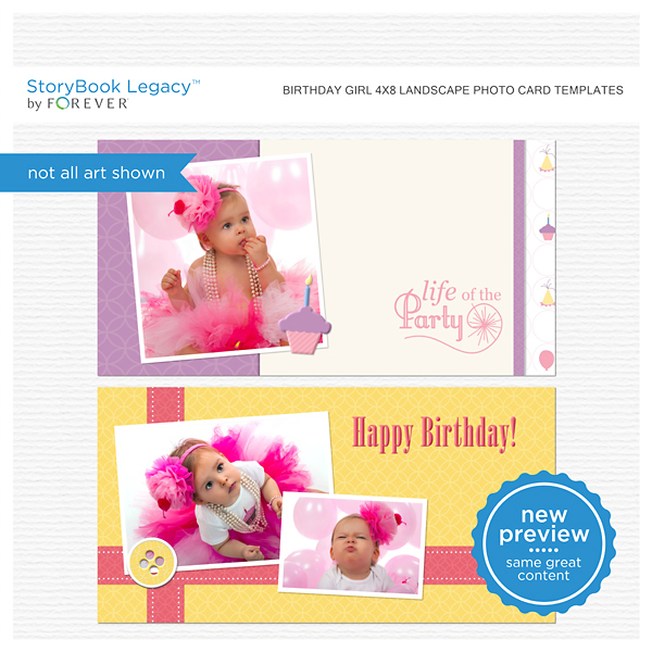 Birthday Girl 4x8 Landscape Photo Card Templates Digital Art - Digital Scrapbooking Kits