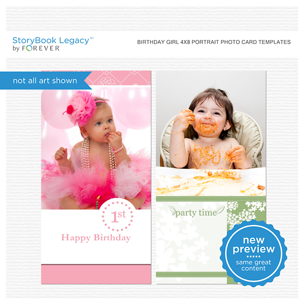 Birthday Girl 4x8 Portrait Photo Card Templates Digital Art - Digital Scrapbooking Kits