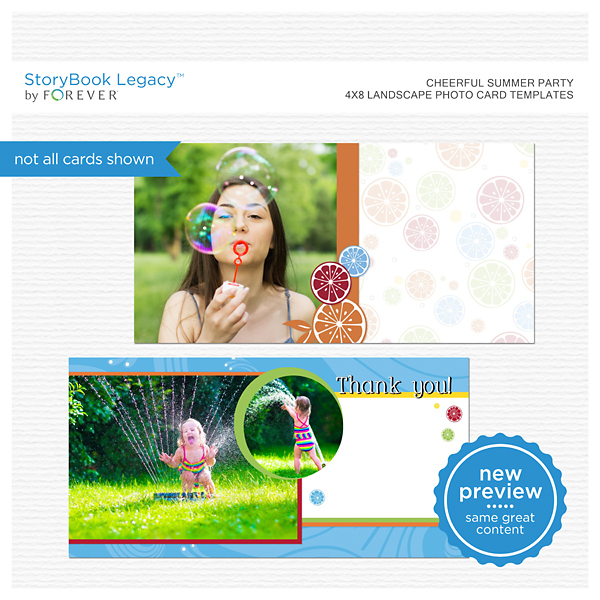 Cheerful Summer Party 4x8 Landscape Photo Card Templates Digital Art - Digital Scrapbooking Kits