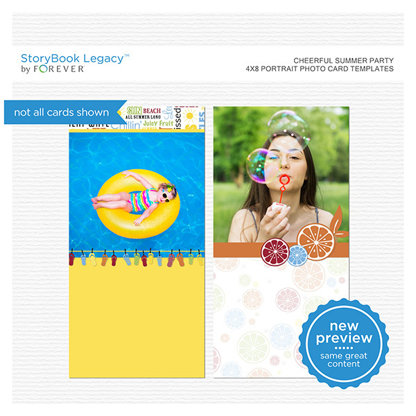 Cheerful Summer Party 4x8 Portrait Photo Card Templates Digital Art - Digital Scrapbooking Kits