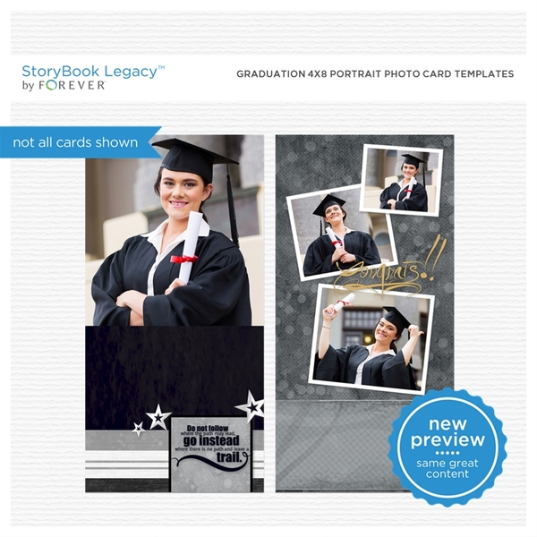 Graduation 4x8 Portrait Photo Card Templates Digital Art - Digital Scrapbooking Kits