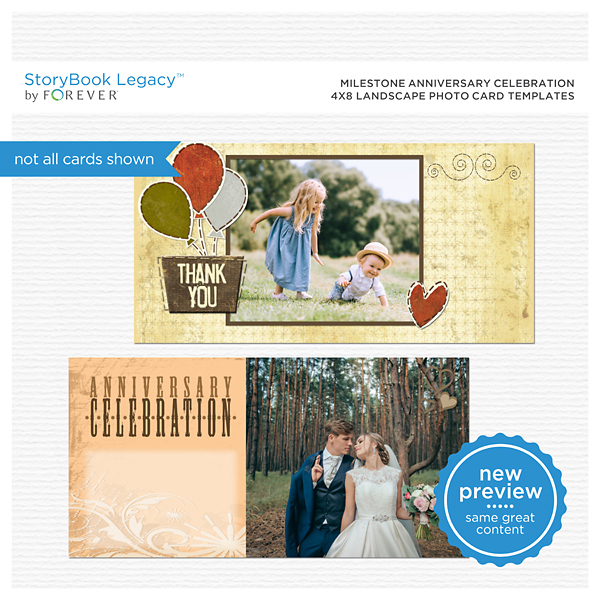 Milestone Anniversary Celebration 4x8 Landscape Photo Card Templates Digital Art - Digital Scrapbooking Kits