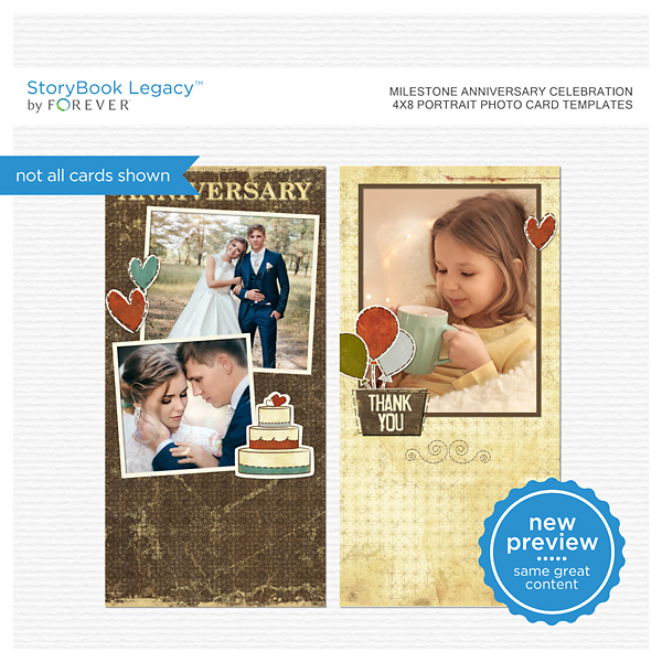 Milestone Anniversary Celebration 4x8 Portrait Photo Card Templates Digital Art - Digital Scrapbooking Kits