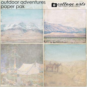 Outdoor Adventures Paper Pak Digital Art - Digital Scrapbooking Kits