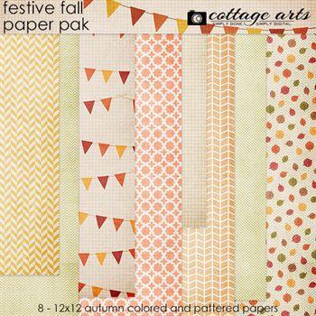 Festive Fall Paper Pak Digital Art - Digital Scrapbooking Kits