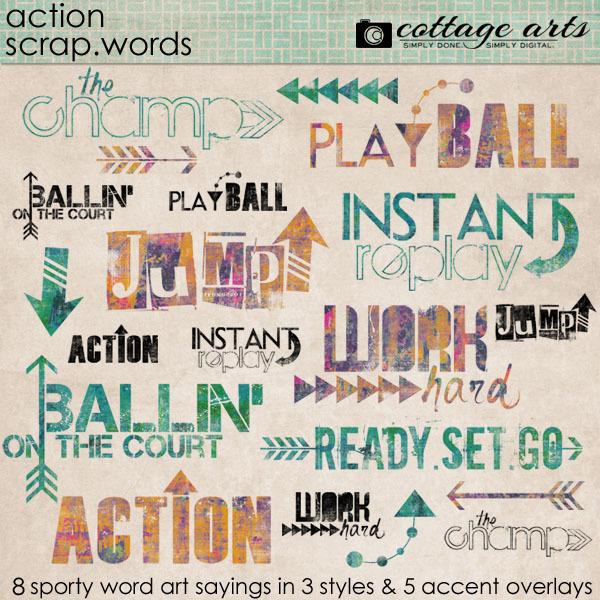 Action Scrap.Words Digital Art - Digital Scrapbooking Kits