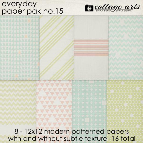 Everyday 15 Paper Pak Digital Art - Digital Scrapbooking Kits