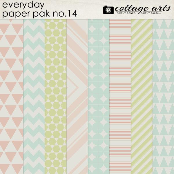 Everyday 14 Paper Pak Digital Art - Digital Scrapbooking Kits