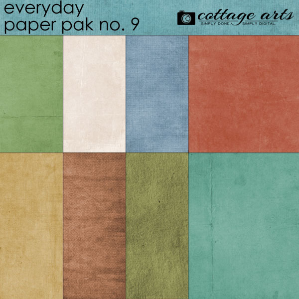 Everyday 9 Paper Pak Digital Art - Digital Scrapbooking Kits
