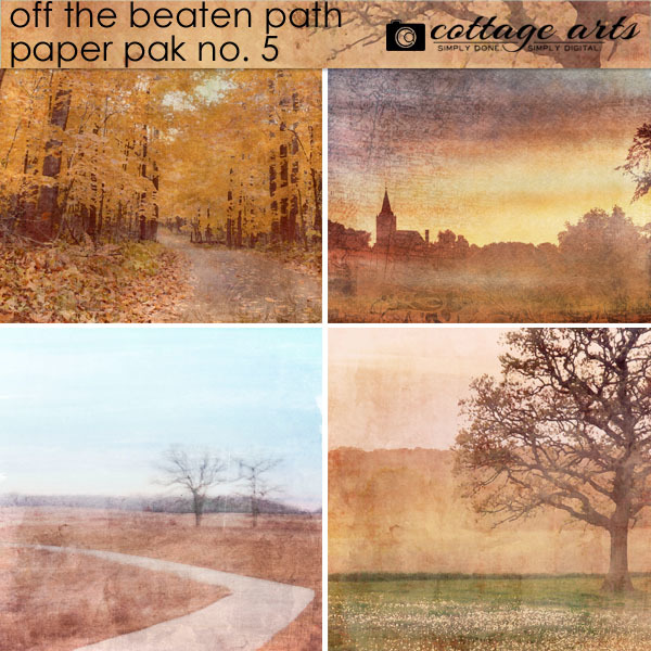 Off The Beaten Path 5 Paper Pak Digital Art - Digital Scrapbooking Kits