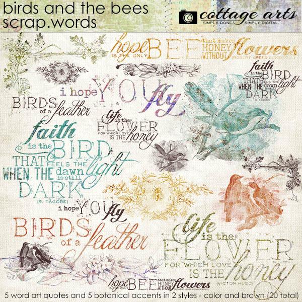 Birds and the Bees Scrap.Words Digital Art - Digital Scrapbooking Kits