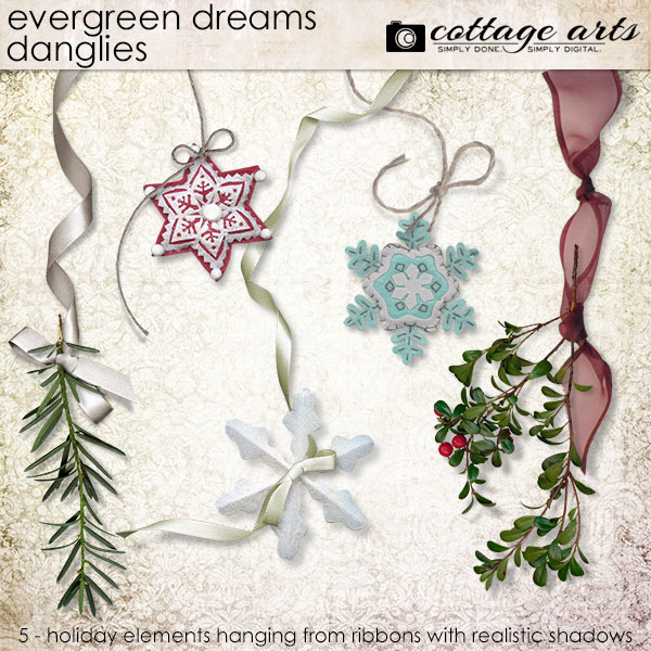 Evergreen Dreams Danglies Digital Art - Digital Scrapbooking Kits