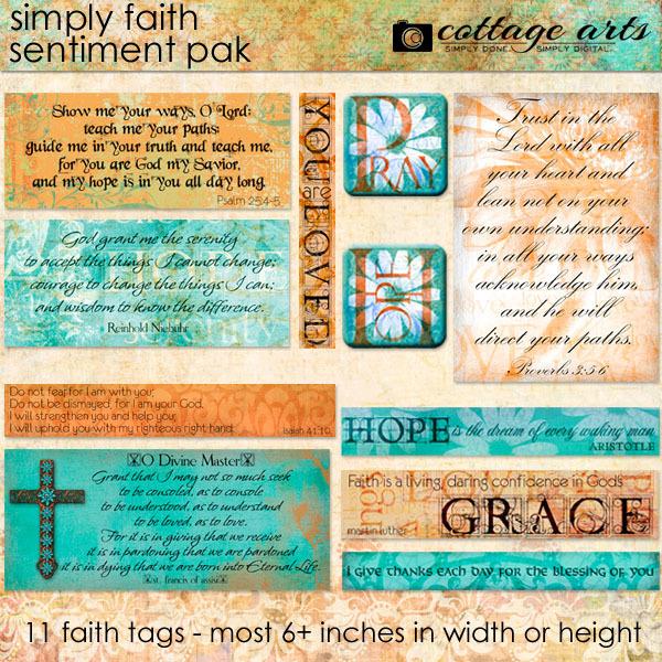 Simply Faith 1 Sentiment Pak Digital Art - Digital Scrapbooking Kits