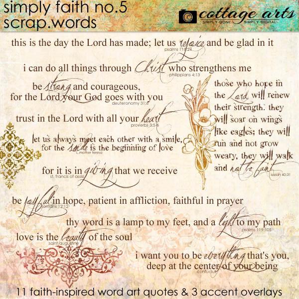 Simply Faith 5 Scrap.Words Digital Art - Digital Scrapbooking Kits