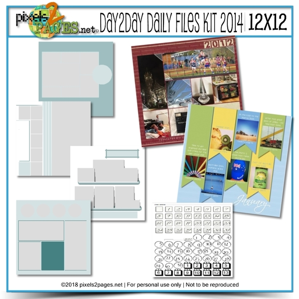 12x12 Daily Files Kit 2014 Digital Art - Digital Scrapbooking Kits