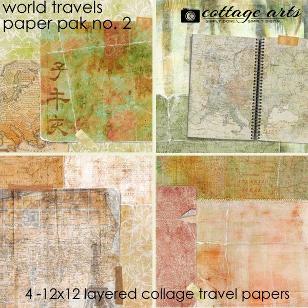 World Travels 2 Paper Pak Digital Art - Digital Scrapbooking Kits
