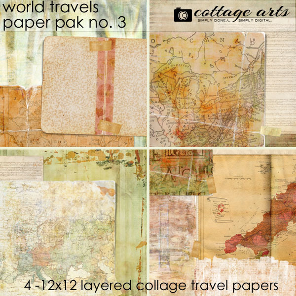 World Travels 3 Paper Pak Digital Art - Digital Scrapbooking Kits