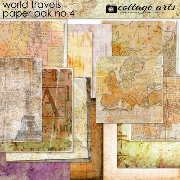 World Travels 4 Paper Pak Digital Art - Digital Scrapbooking Kits
